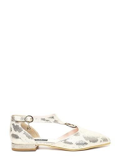 Kuum Sivri Burun Sandalet Altın